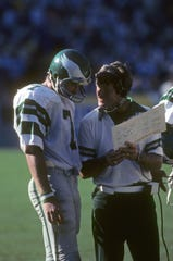 Oct 1979; Unknown Location, USA; FILE PHOTO; Philadelphia Eagles head coach Dick Vermeil on the sidelines with quarterback Ron Jaworski (7) during the 1979 season. Mandatory Credit: Malcolm Emmons-USA TODAY Sports