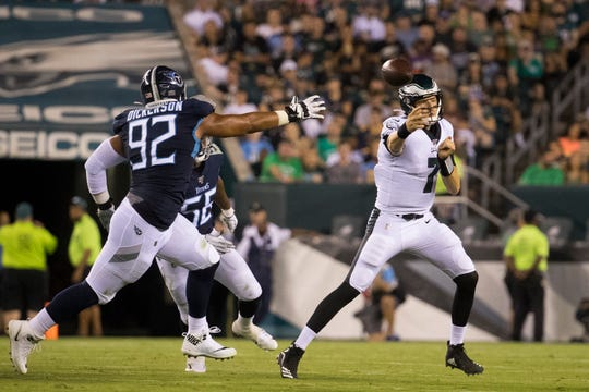 Eagles' Nate Sudfeld (7) throws downfield Thursday night against Tennessee.