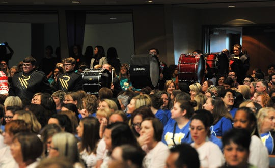 Teachers and students crowded into the First Baptist worship center for the annual Wichita Falls ISD teacher pep rally held Friday morning in the church's downtown campus.