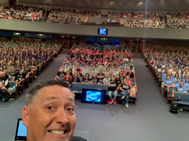 "Wichita Falls Independent School District Superintendent Michael Kuhrt tweeted a ""selfie"" photo that included WFISD employees gathered for the annual back-to-school assembly. The annual event, held recently at First Baptist Church, traditionally kicks off the school year for the teachers, who will be earning more because of pay raises  mandated by the Legislature."