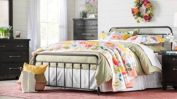 This stunning farmhouse bed frame is timeless.