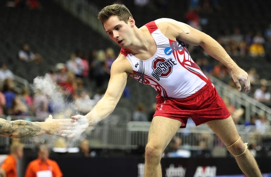 Alec Yoder reacts during the 2019 U.S. Gymnastics Championships.