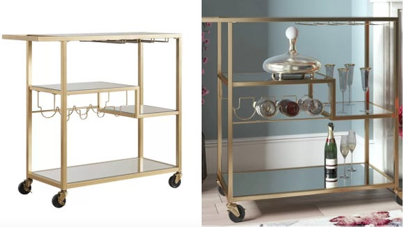 This sharp, elegant bar cart looks great in a retro or modern aesthetic.