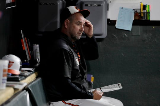 Baltimore Orioles manager Brandon Hyde sits in the dugout during Wednesday's game.