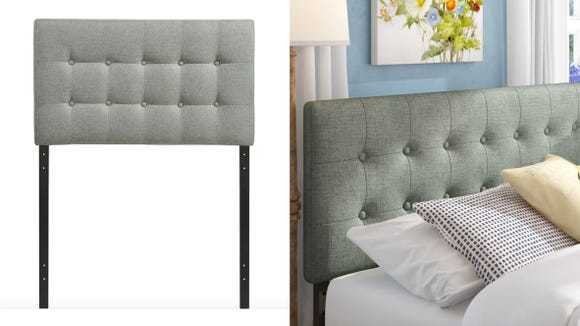 This tufted headboard completes any modern bedroom decor.