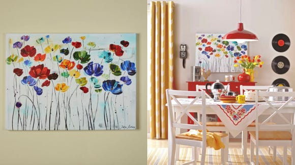 This colorful print would look amazing in a kitchen, living room, or guest room.