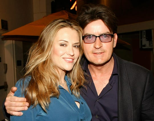 Charlie Sheen and then-wife Brooke Mueller photographed on April 18, 2009 in Las Vegas, Nevada.