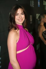 """Anne Hathaway poses at the opening night of """"Sea Wall/A Life"""" on Broadway at on Aug. 8, 2019 in New York City."""