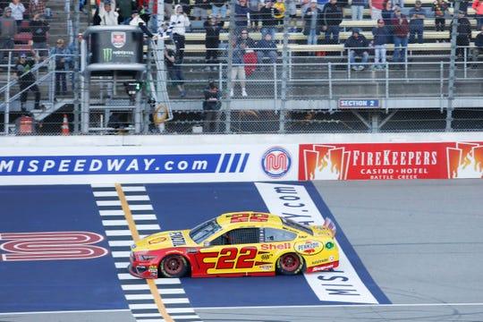 Joey Logano won the June NASCAR Cup race at Michigan International Speedway.