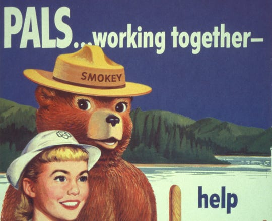 "This 1956 campaign poster features artwork by former U.S. Forest Service employee Rudolph ""Rudy"" Wendelin. Wendelin was the campaign's first official artist and created eye-catching artwork to educate the American public on wildfire prevention until his retirement in 1973."
