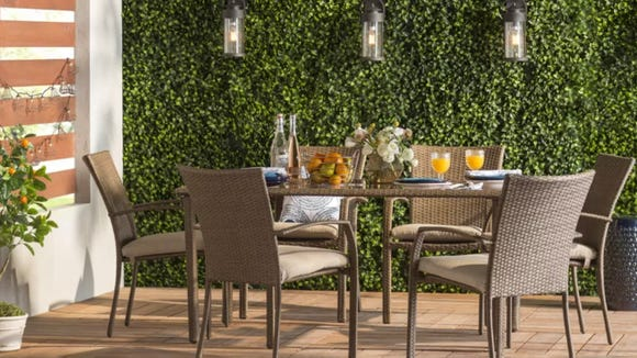 Soak up the last of summer with this outdoor dining set.