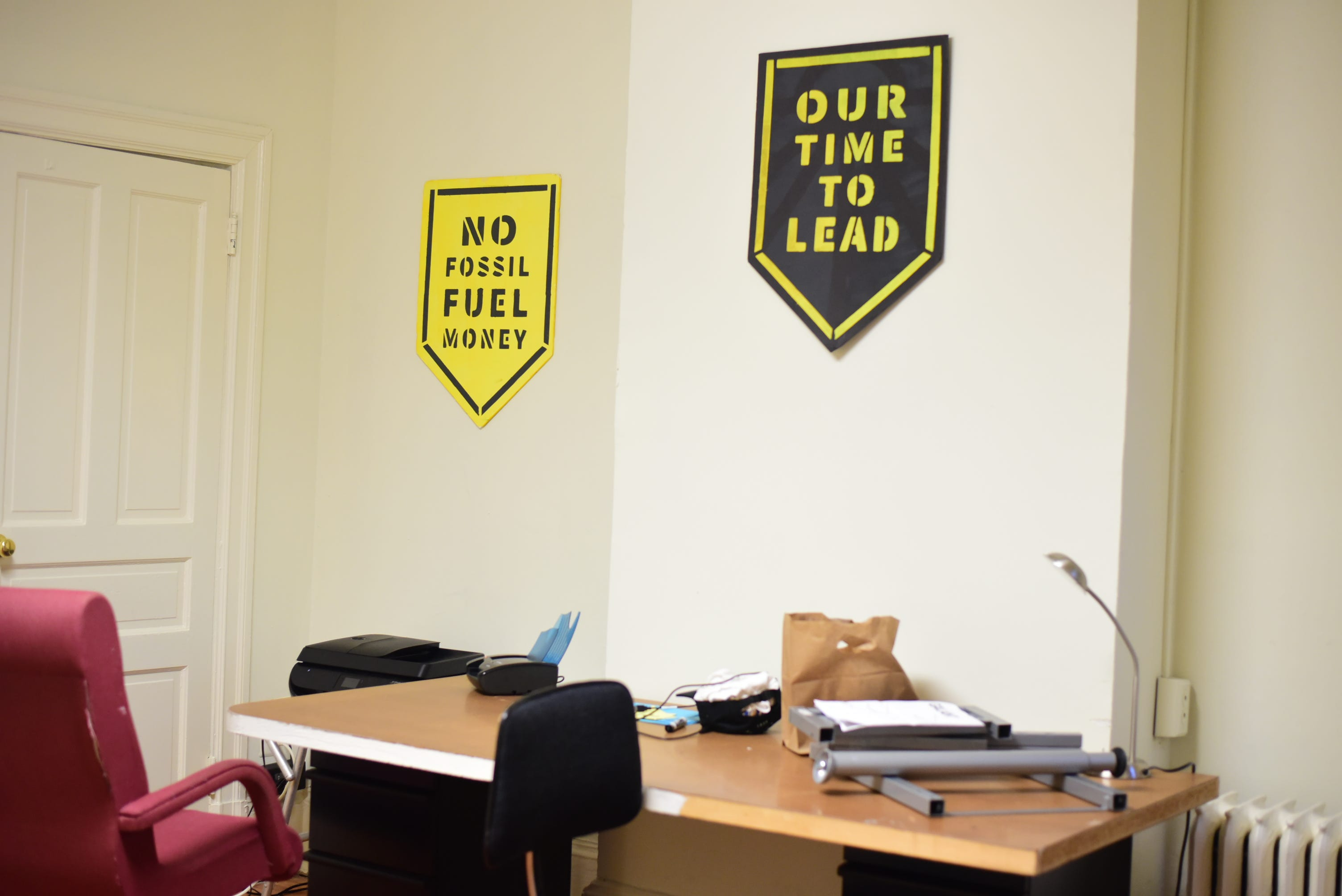 The office space of Sunrise Movement, a youth-led movement advocating political action on climate change, in Washington, D.C.