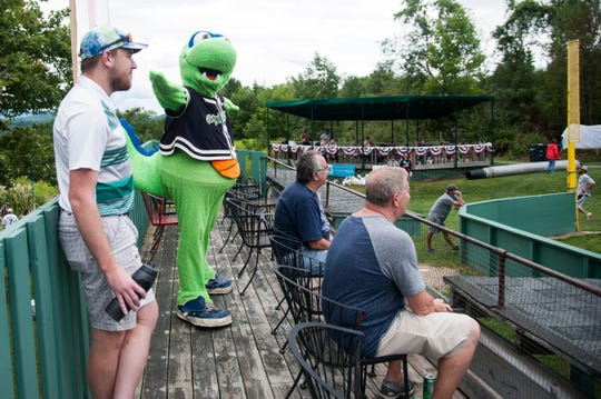 The Lake Monsters mascot Champ makes an appearance during the Travis Roy Foundation wiffle ball tournament at Little Fenway on Saturday afternoon August 10, 2019 in Essex, Vermont.