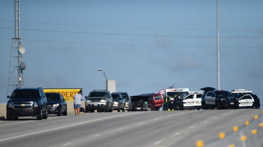 A multi-car crash stopped traffic on the westbound side of South Padre Island Drive on Saturday, Aug. 10, 2019.