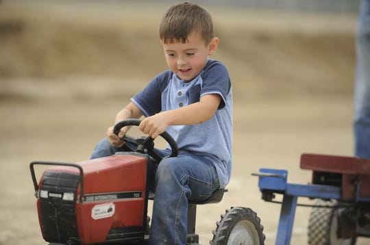 Elias Brabson of Kingston won the first class of the kiddie tractor pull, pulling his weight 14 feet, four inches. Local kids competed at the 2019 Ross County Fair Kiddie Tractor Pull on Saturday Aug. 10 at the Ross County Fairgrounds in Chillicothe, Ohio.