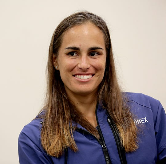 Tennis player Monica Puig, during an interview in Mason Saturday, Aug. 10, 2019.