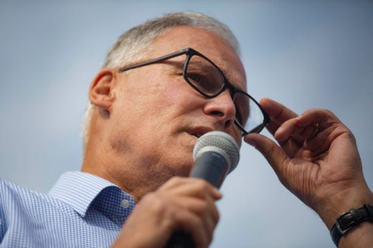 2020 democratic presidential candidate Jay Inslee delivers a speech at the Des Moines Register Political Soapbox on August 10, 2019.