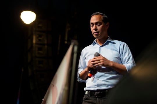 2020 democratic presidential candidate Julian Castro speaks during the Iowa Democratic Wing Ding at the Surf Ballroom on Friday, Aug. 9, 2019 in Clear Lake.