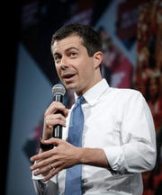 Democratic presidential candidate hopeful Pete Buttigieg speaks during the Presidential Gun Sense Forum on Saturday, Aug. 10, 2019, at the Iowa Events Center in Des Moines.