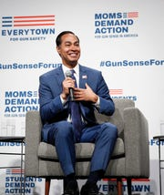 Democratic presidential candidate hopeful Julian Castro speaks during the Presidential Gun Sense Forum on Saturday, Aug. 10, 2019, at the Iowa Events Center in Des Moines.