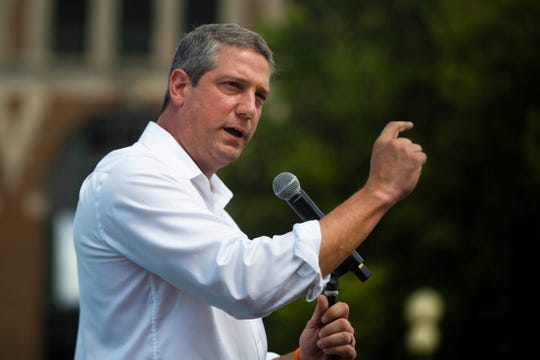 U.S. Rep. of Ohio and 2020 democratic presidential candidate Tim Ryan delivers a speech at the Des Moines Register Political Soapbox on August 10, 2019.