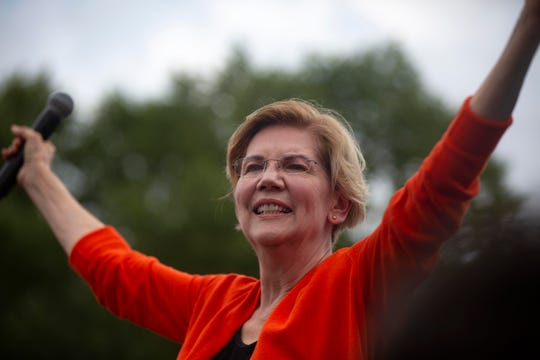 U.S. Senator and 2020 democratic presidential candidate Elizabeth Warren, D-Mass., delivers a speech at the Des Moines Register Political Soapbox on August 10, 2019.