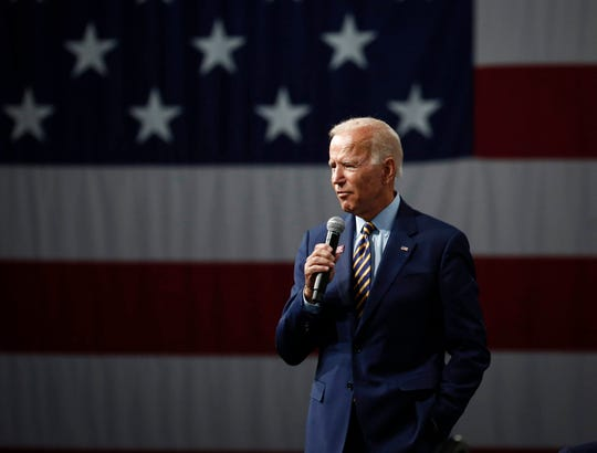Democratic presidential candidate hopeful and former Vice President Joe Biden speaks during the Presidential Gun Sense Forum on Saturday, Aug. 10, 2019, at the Iowa Events Center in Des Moines.