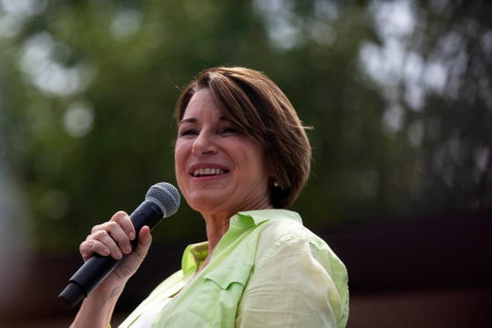 Sen. Amy Klobuchar, D-Minn., campaigns in Des Moines, Iowa, on Aug. 10, 2019.