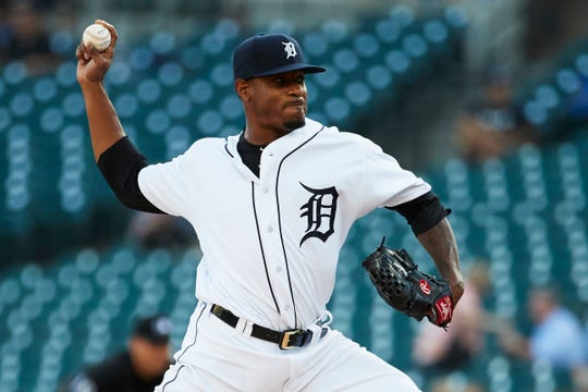 Detroit Tigers pitcher Edwin Jackson pitches in the first inning against the Kansas City Royals at Comerica Park.