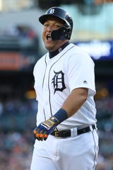 Miguel Cabrera #24 of the Detroit Tigers reacts after scoring a first inning run while playing the Kansas City Royals at Comerica Park on August 09, 2019 in Detroit, Michigan.