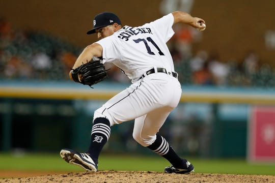 Detroit Tigers relief pitcher John Schreiber throws during the ninth inning against the Kansas City Royals on Aug. 9, 2019.
