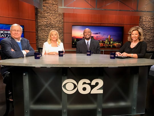 """L. Brooks Patterson, Denise Ilitch, Cliff Russell and Carol Cain appear on """"Michigan Matters"""" in October 2017."""