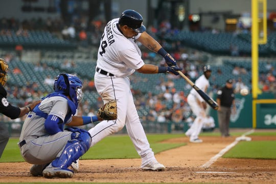 Detroit Tigers first baseman Miguel Cabrera drives in a run on a fifth inning  single against the Kansas City Royals at Comerica Park on Aug. 9, 2019, in Detroit.