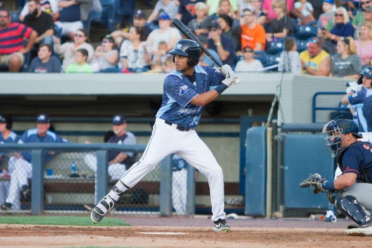 Riley Greene with the West Michigan Whitecaps, Aug. 9, 2019.