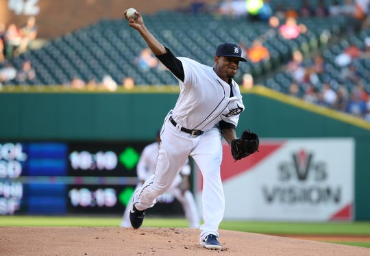 Edwin Jackson #19 of the Detroit Tigers throws a first inning pitch while playing the Kansas City Royals at Comerica Park on August 09, 2019 in Detroit, Michigan.