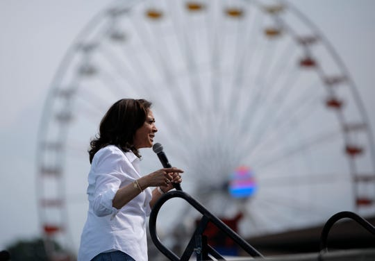 Democratic presidential candidate Sen. Kamala Harris, D-Calif., speaks at the Iowa State Fair, Saturday, Aug. 10, 2019, in Des Moines, Iowa.