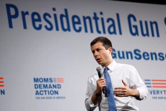 Democratic presidential candidate South Bend, Ind., Mayor Pete Buttigieg speaks at the Presidential Gun Sense Forum, Saturday, Aug. 10, 2019, in Des Moines, Iowa.