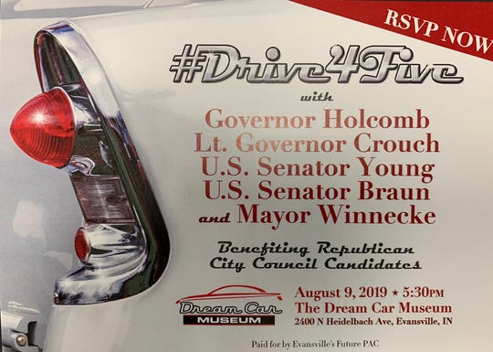 Postcard invitation to the event benefitting Evansville Republican city council candidates.