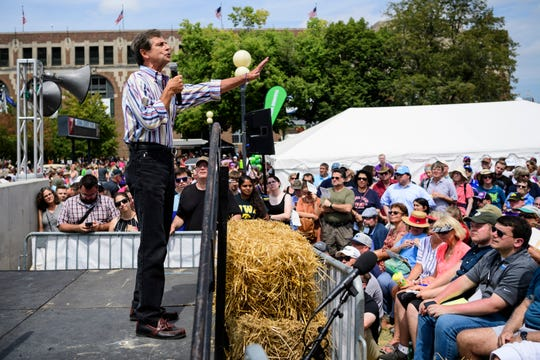 Joe Sestak, a retired three-star Navy admiral, former Pennsylvania congressman and 2020 presidential candidate, gives a campaign speech from the Des Moines Register Political Soapbox at the Iowa State Fair in Des Moines, Iowa, Saturday, Aug. 10, 2019.