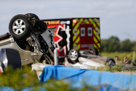 Emergency workers from multiple agencies work the scene of a multiple vehicle crash Saturday, August 10, 2019 on Interstate 41 south bound, north of Town Line Road. Doug Raflik/USA TODAY NETWORK-Wisconsin
