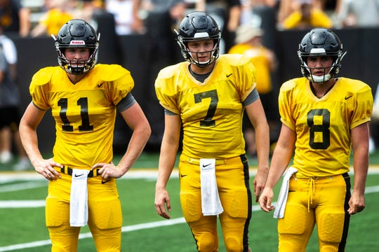 Spencer Petras (7) would be the next man in Saturday against Miami of Ohio if Nate Stanley goes down, Kirk Ferentz said Tuesday.