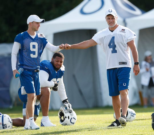 Indianapolis Colts kicker Adam Vinatieri (4) greets rookie kicker Cole Hedlund (9) during their preseason training camp practice at Grand Park in Westfield on Saturday, August 10, 2019.