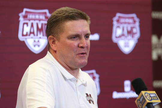 Mississippi State defensive coordinator Bob Shoop speaks at Media Day on Saturday, August 10, 2019 at the Leo Seal Complex. Photo by Keith Warren