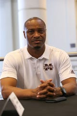MSU wide receivers coach Michael Johnson. Mississippi State conducted Media Day on Saturday, August 10, 2019 at the Leo Seal Complex. Photo by Keith Warren
