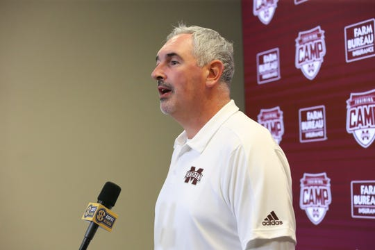 Mississippi State football coach Joe Moorhead speaks at a media day on Saturday, August 10, 2019 at the Leo Seal Complex. Photo by Keith Warren
