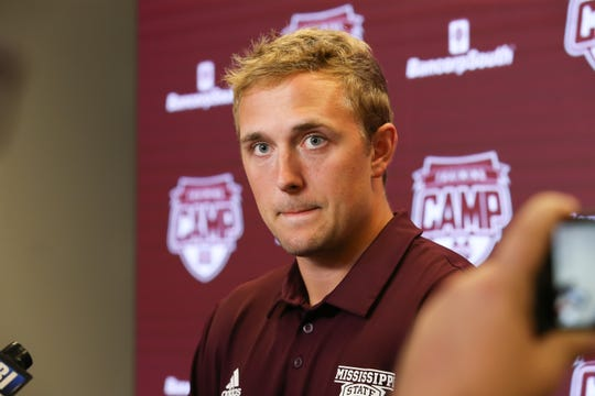 Mississippi State's Tommy Stevens (7) speaks to reporters at Media Day on Saturday, August 10, 2019 at the Leo Seal Complex. Photo by Keith Warren
