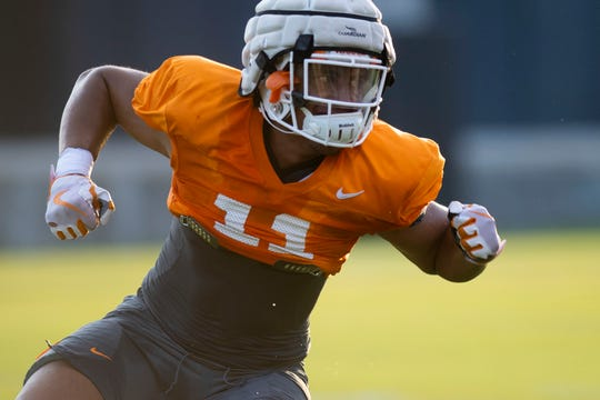 Tennessee linebacker Henry To'o To'o (11) at practice on Friday, August 9, 2019.