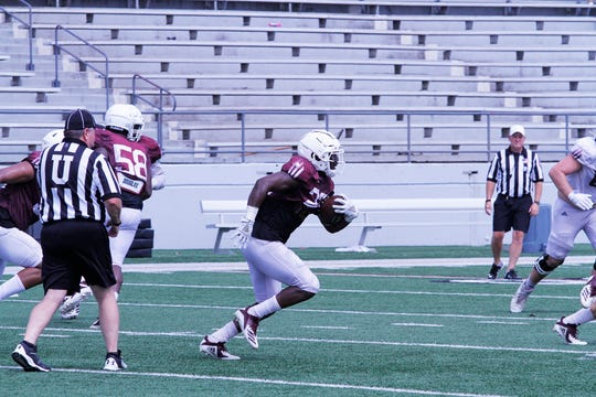 Safety Nick Ingram (23) intercepted a Caleb Evans pass during ULM's scrimmage on Saturday at JPS Field at Malone Stadium. The pick was the defense's lone takeaway of the day.
