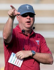 Troy head coach Chip Lindsey coaches as Troy University holds a football scrimmage on campus in Troy, Ala., on Saturday August 10, 2019.