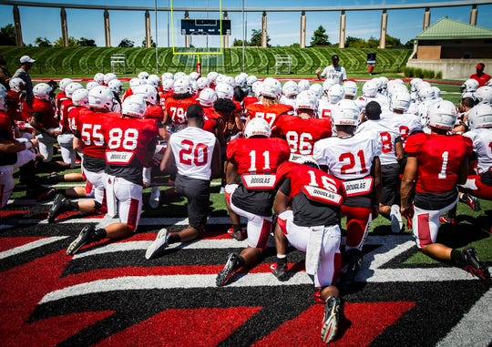 FILE -- Ball State held a scrimmage at Scheummann Stadium on Aug. 10, 2019. The Cardinals face off against IU in their season opener on Aug. 31.